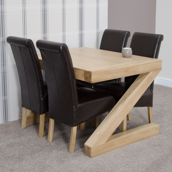 zaria solid oak designer furniture dining table and four chairs set