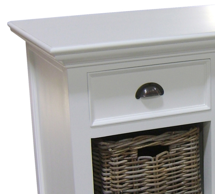 Rutland white painted furniture small sideboard with for Sideboard rattan