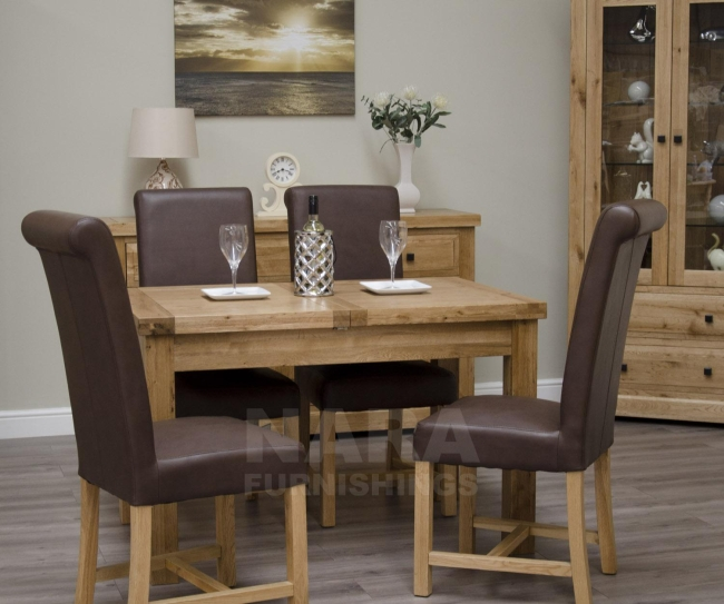 solid oak furniture extending dining table and four leather chairs set