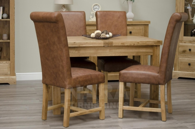 solid oak furniture extending dining table and six leather chairs set