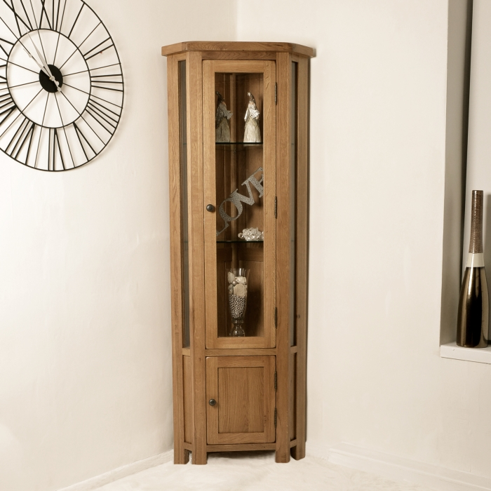Corner Dining Room Cabinet: Solid Rustic Oak Corner Display Cabinet Glazed Cupboard