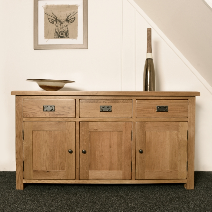 Solid rustic oak sideboard living dining room extra large for Traditional dining room sideboard