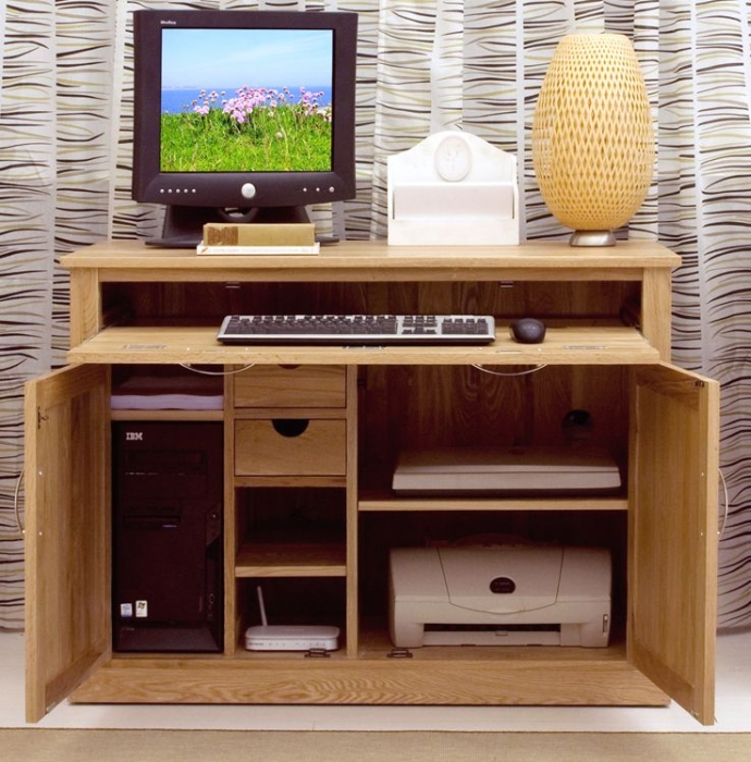 Nara Solid Oak Hidden Home Office Desk Amp Filing Cabinet