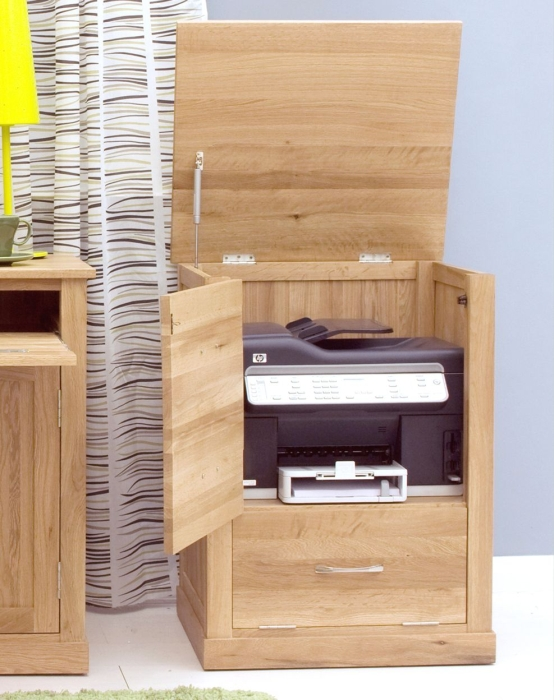 Nara solid oak office computer desk furniture printer storage cupboard