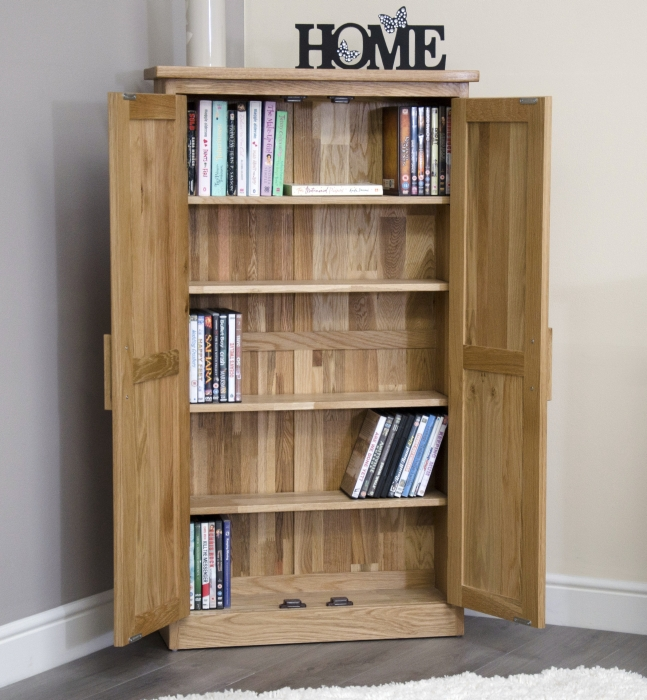 Arden solid oak furniture cd dvd storage cabinet cupboard