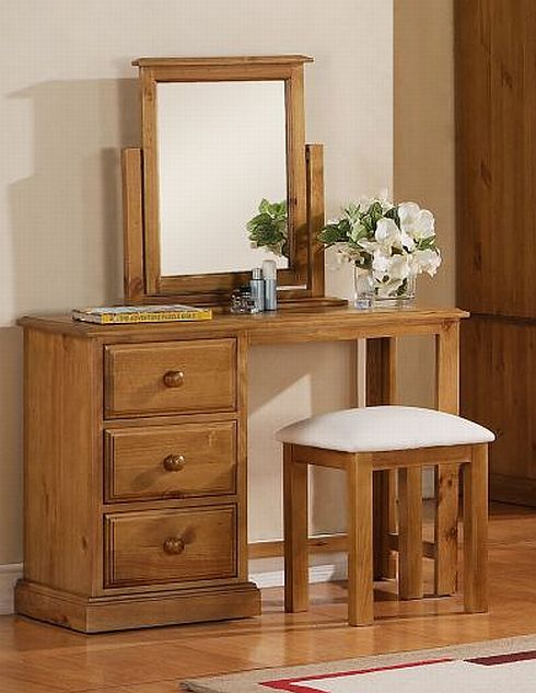 Dressing Table With Mirror And Stool: Primrose Solid Pine Bedroom Furniture Dressing Table