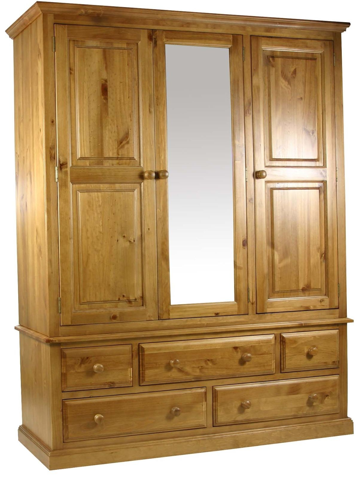Primrose solid chunky pine bedroom furniture large triple for Pine furniture