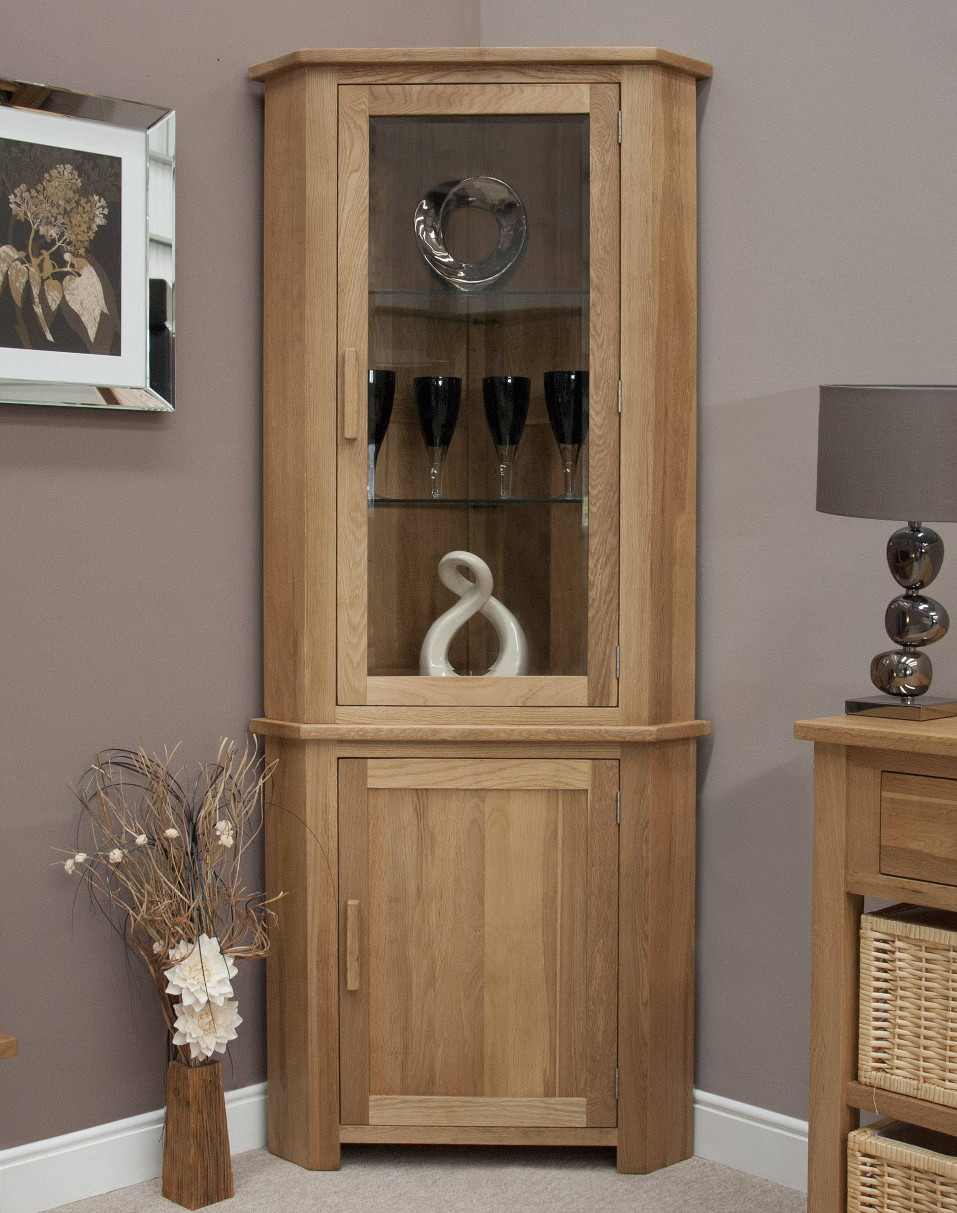 Windsor solid oak furniture corner display cabinet unit with light ebay for Corner wall cabinets living room
