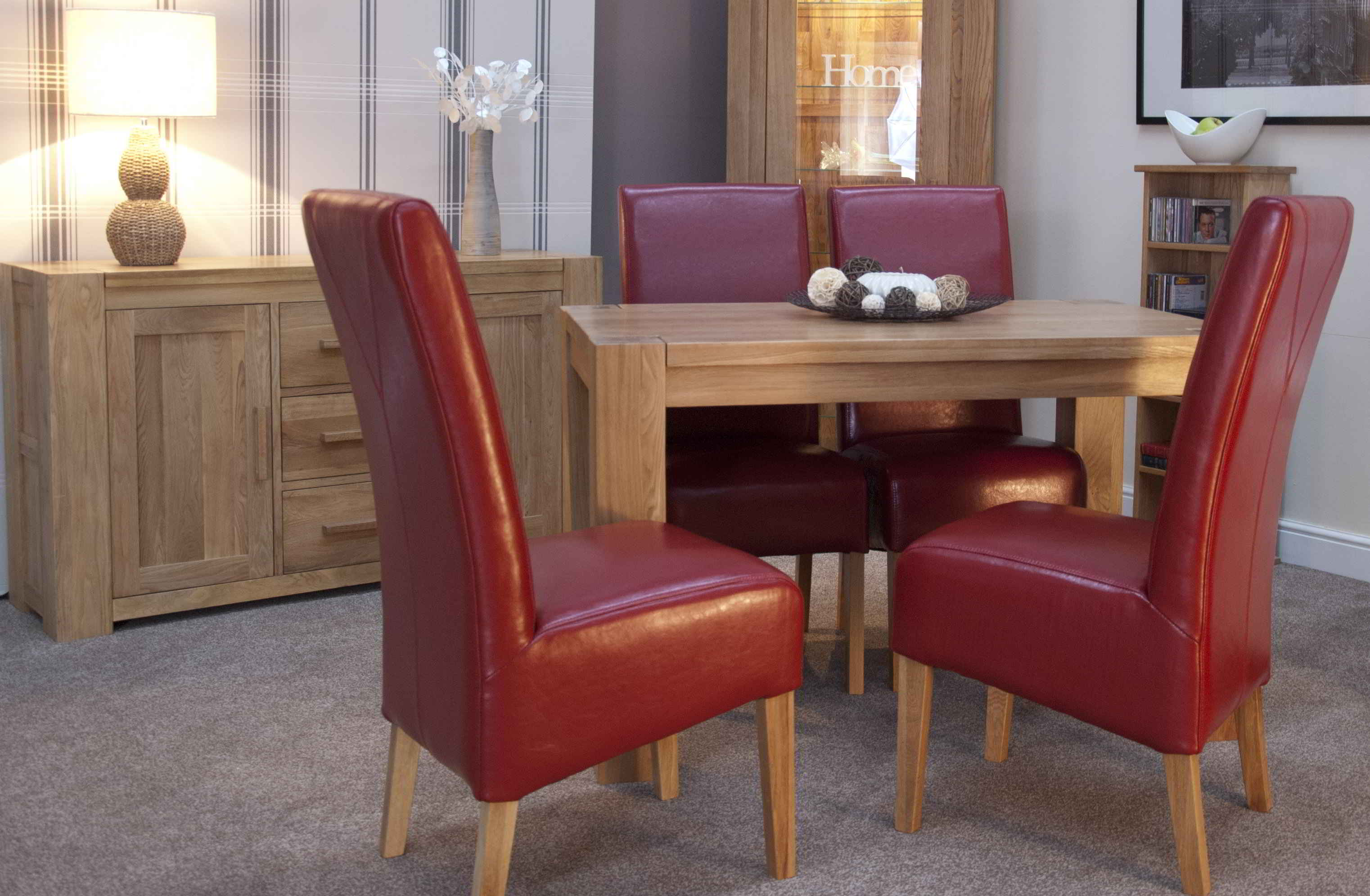 padova solid oak furniture small dining table and four red