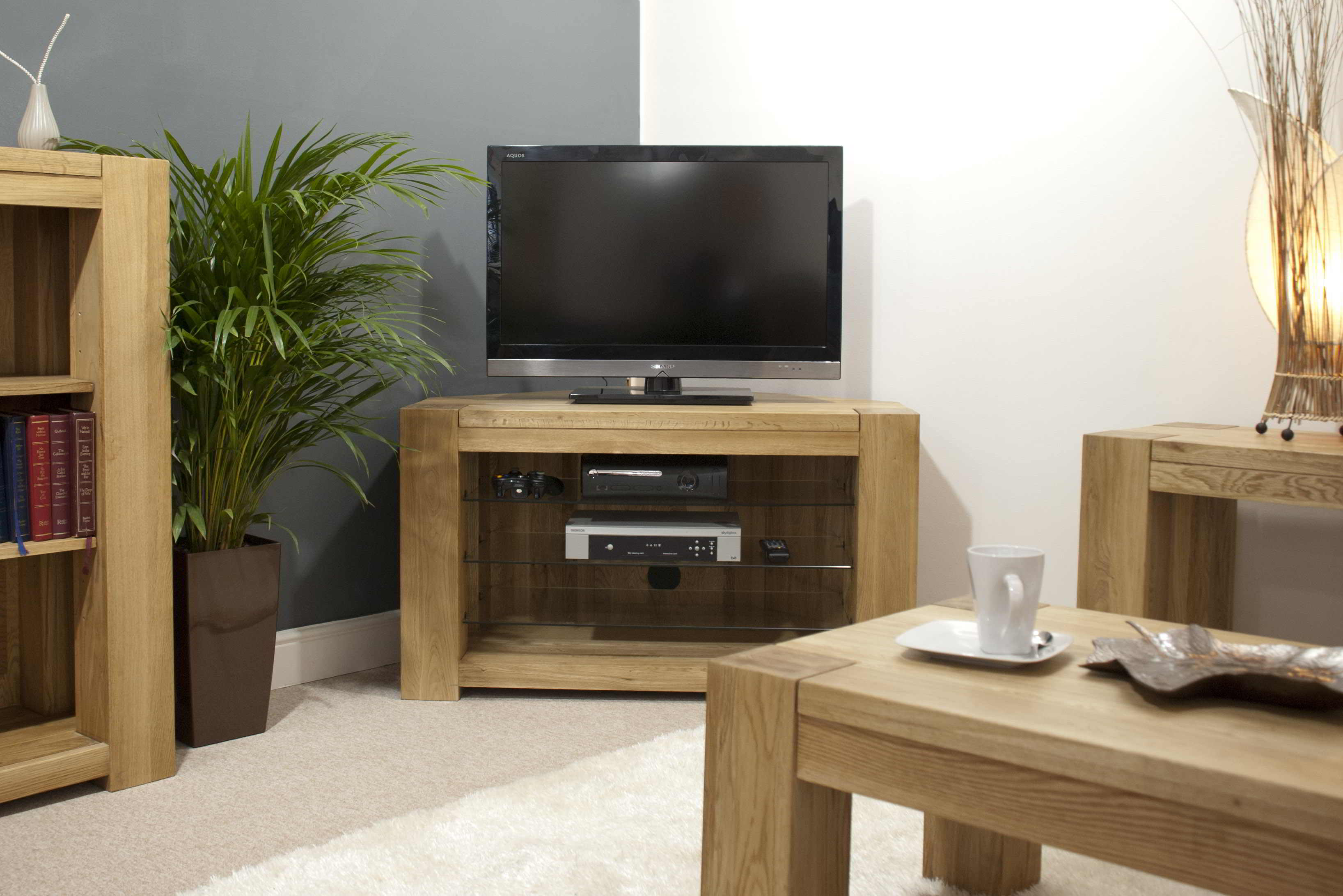 Padova solid oak furniture corner television cabinet stand for Living room designs with oak furniture