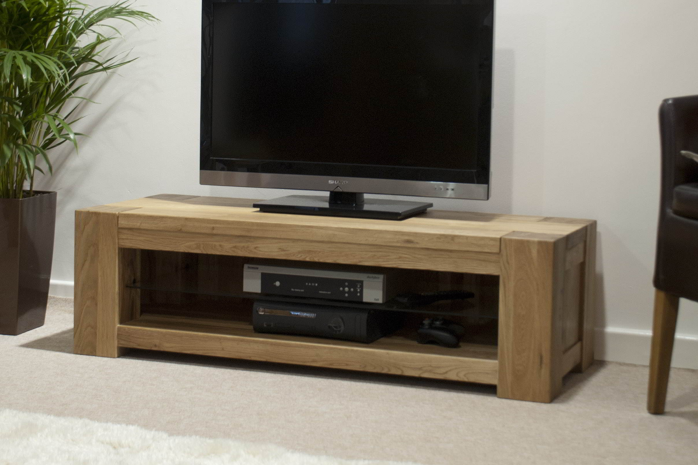 Padova solid oak furniture plasma television cabinet stand