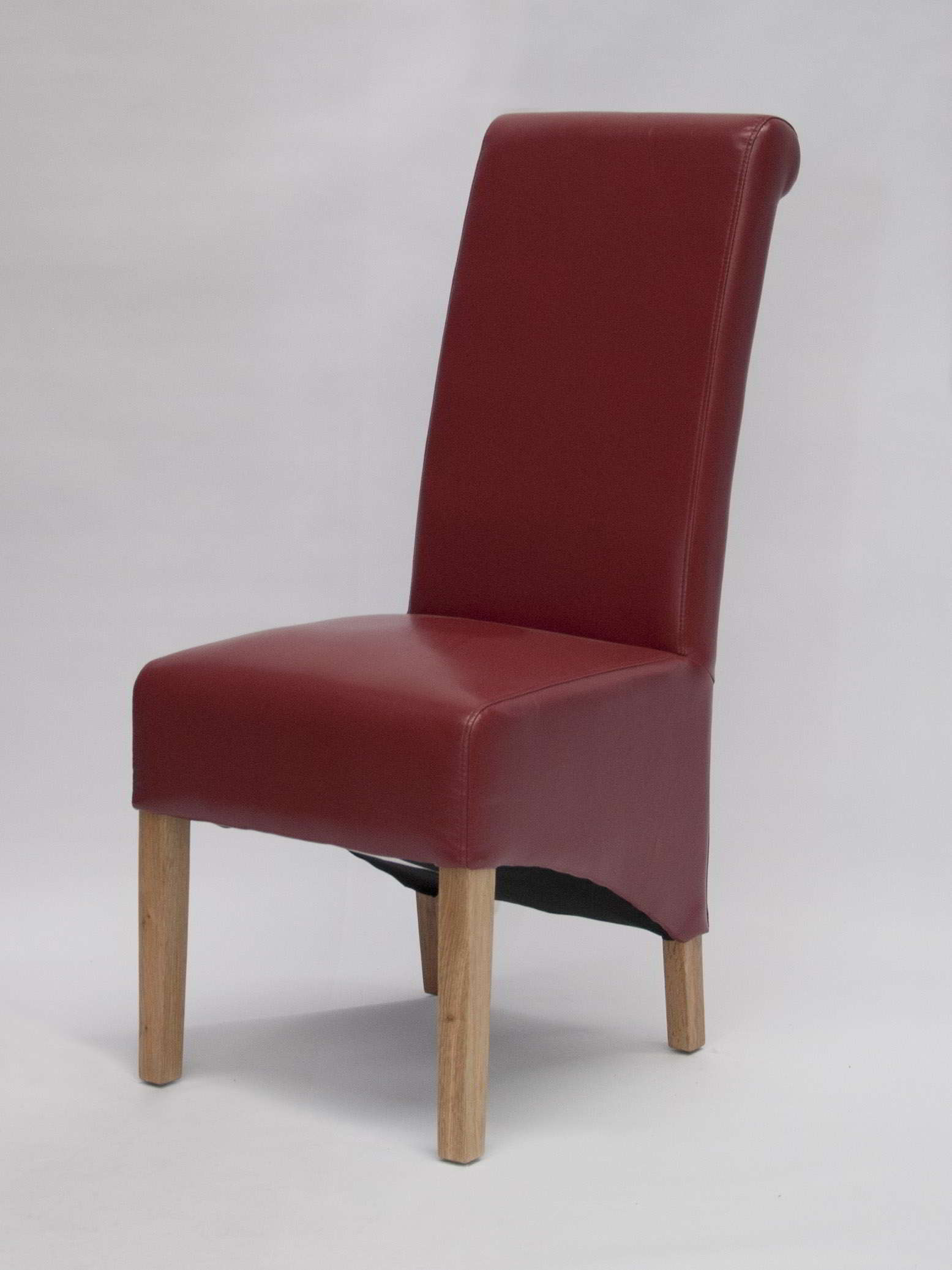 Kensington Solid Oak Furniture Set Of Two Red Leather Dining Chairs. Full resolution  image, nominally Width 1555 Height 2073 pixels, image with #49191C.