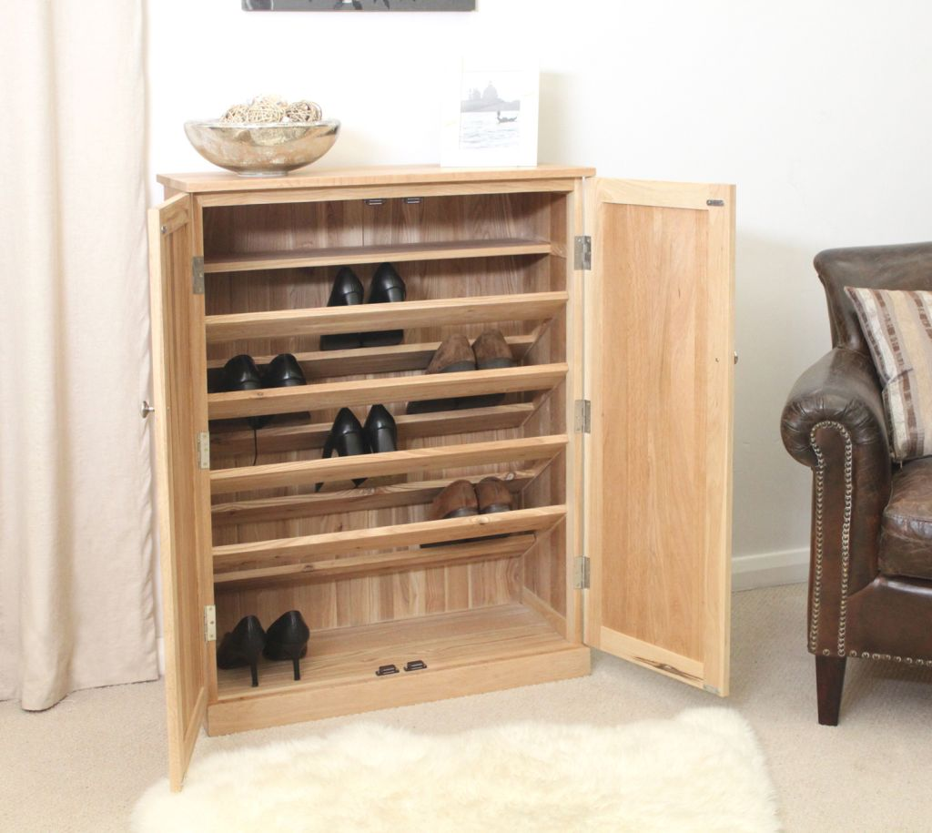 Mobel Solid Oak Furniture Shoe Storage Hallway Bench: Mobel Solid Contemporary Oak Hallway Furniture Large Shoe