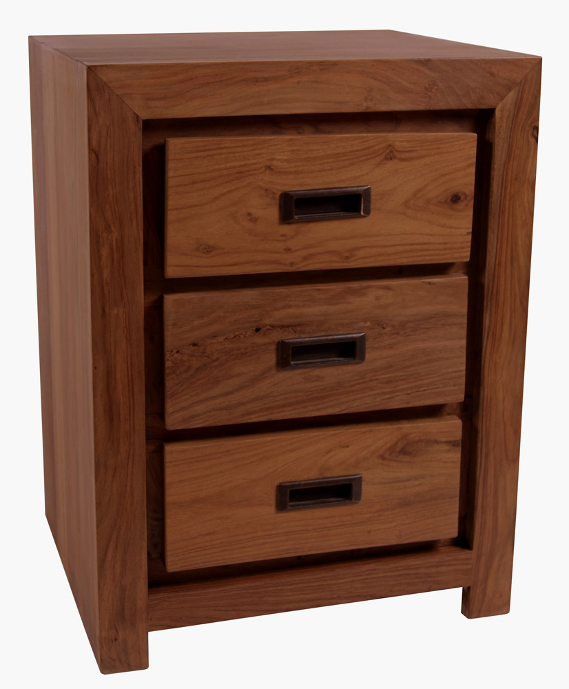 Lingfield Waxed Sheesham Bedroom Furniture Three Drawer Bedside Table Cabinet
