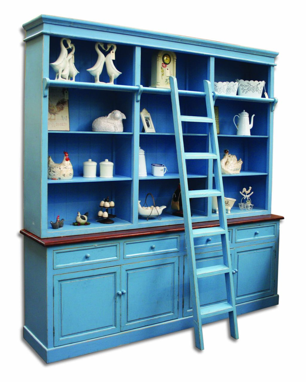 bordeaux blue painted furniture large bookcase display