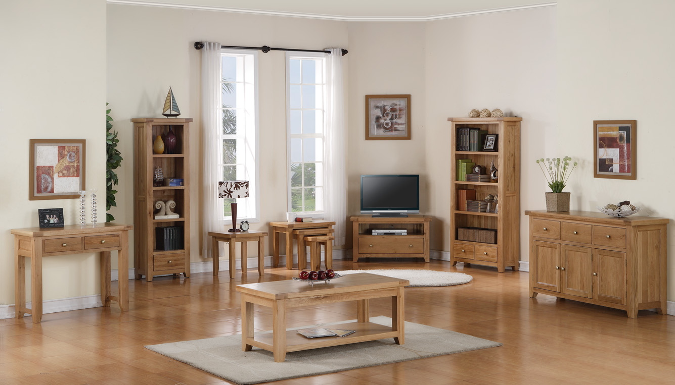 Devon solid oak living room furniture corner tv dvd for Living room unit sets