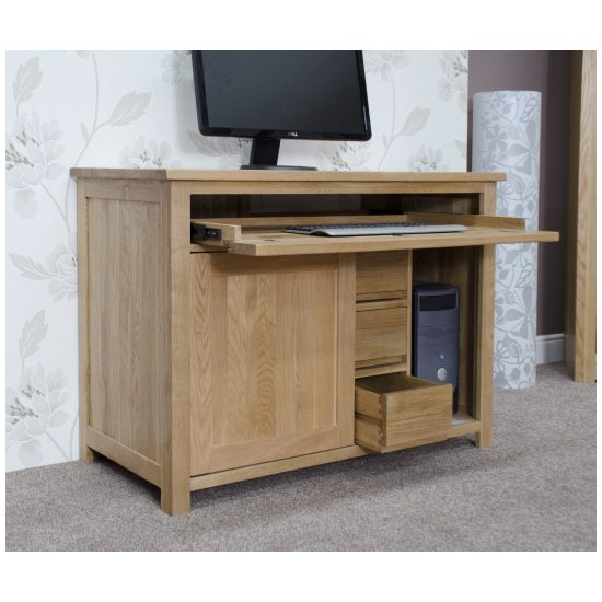 Nero Solid Oak Furniture Home Office Pc Hideaway Computer