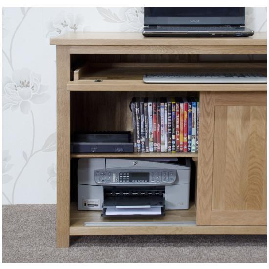 Nero solid oak furniture home office pc hideaway computer for Hideaway home office