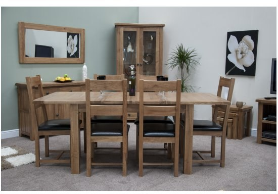 warwick solid oak furniture extending dining table and six chairs set