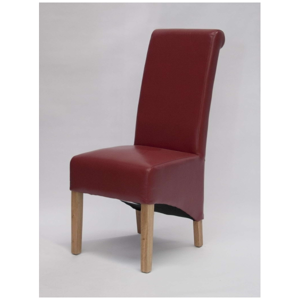Bari Solid Oak Furniture Set Of Four Red Leather Dining Chairs EBay