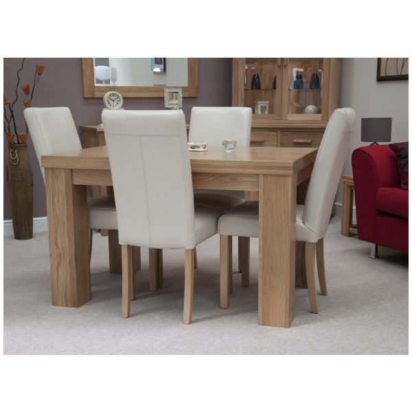 Set Of 4 Country Cream Dining Chairs: Naples Solid Oak Furniture Dining Table And Four Cream