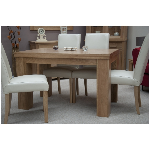 naples solid oak furniture dining table and four cream