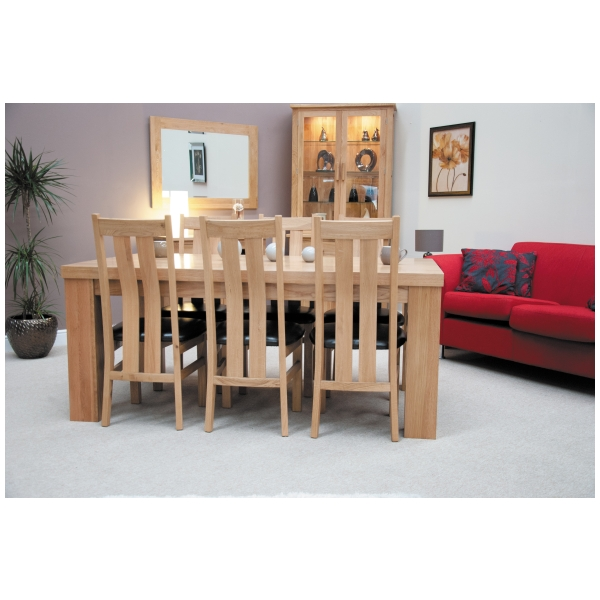 Naples solid oak furniture large chunky table and six for Table 52 naples