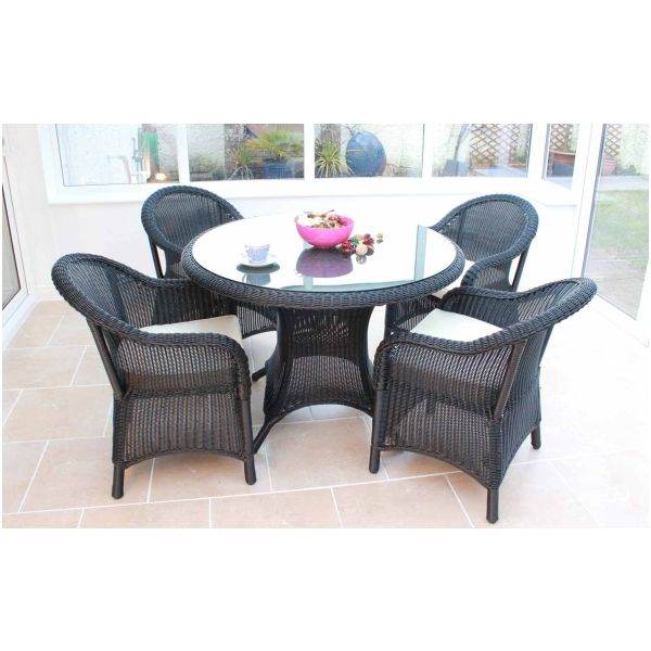 Emerald Black Rattan Patio Garden Dining Table And Chairs Furniture Set Ebay