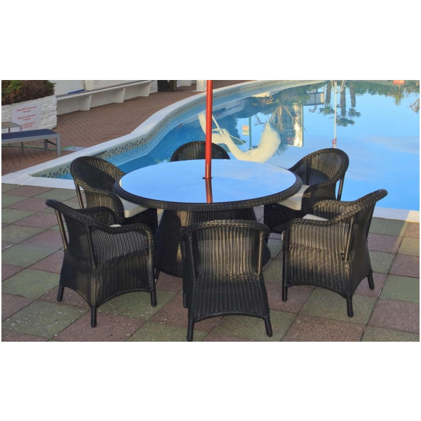Emerald Black Rattan Conservatory Or Patio Garden 6 Seat Dining Furniture Set Ebay