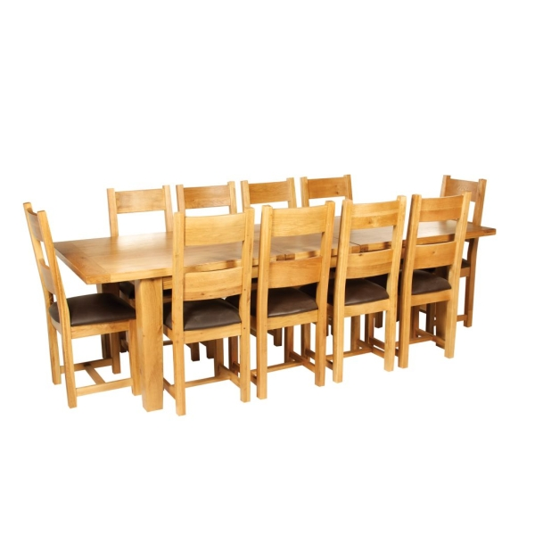 lyon solid oak furniture large dining table and ten chairs