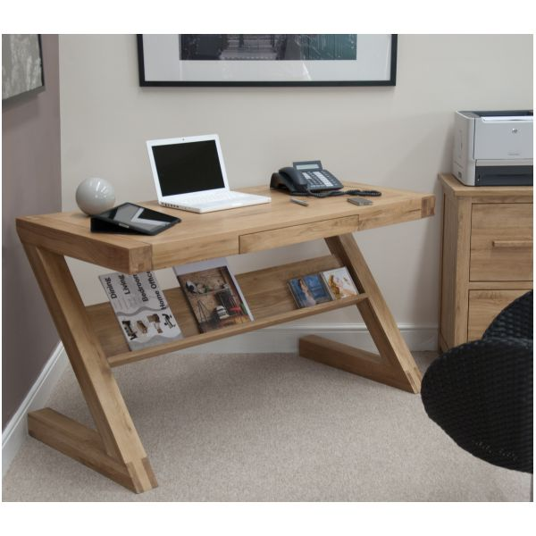 zouk solid oak designer furniture laptop office pc computer desk