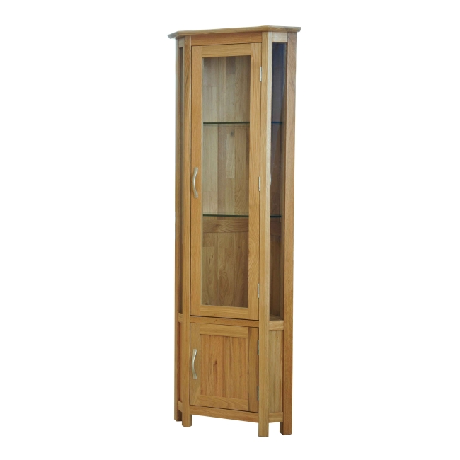Canberra Solid Oak Furniture Glass Corner Display Cabinet Unit Ebay