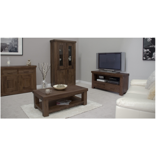 Fama solid dark wood walnut living room office furniture two door