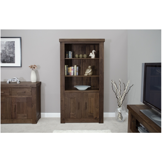 Solid dark wood walnut living room office furniture two door bookcase