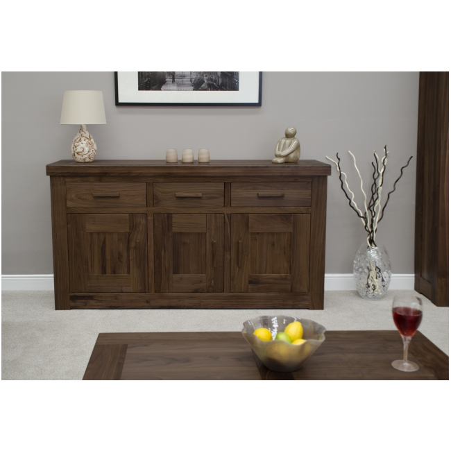 solid dark wood walnut living dining room furniture large sideboard