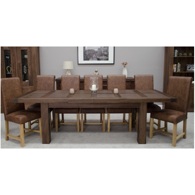 solid dark wood walnut dining room furniture grand extending dining