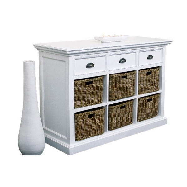 Nova white painted furniture dining room sideboard with 6 - Meuble de rangement avec panier ...