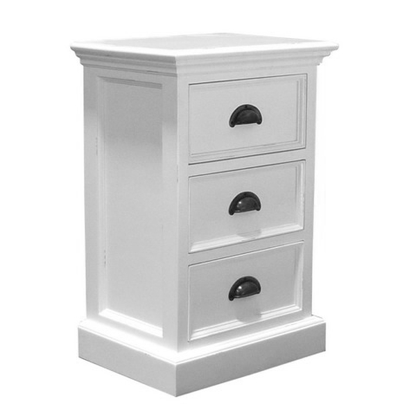 Nova white painted furniture bedside cabinet small chest for Small bedside chest of drawers