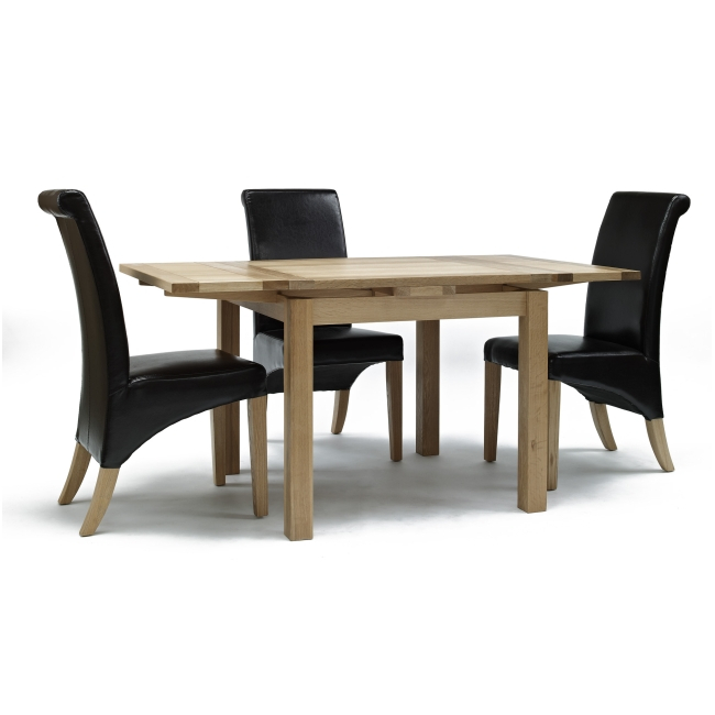 mayfair solid oak furniture table and four leather seat