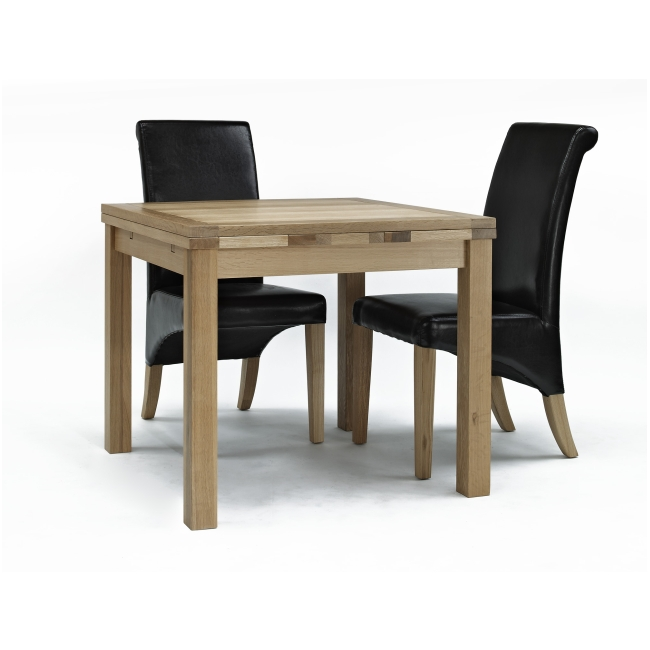 mayfair solid oak furniture table and four leather seat dining chairs