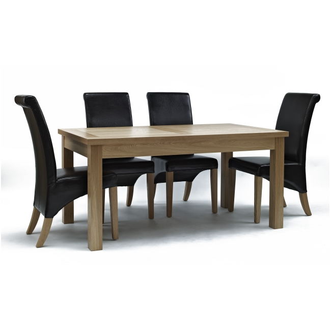 Mayfair Solid Oak Furniture Dining Room Table And Four