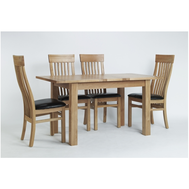 Mayfair Solid Oak Furniture Dining Table And Four Leather Dining Chairs Set Ebay