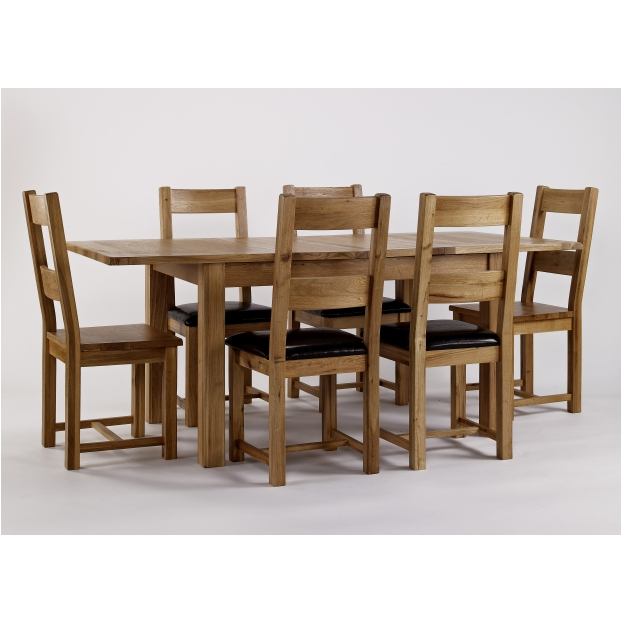 Quebec solid oak furniture extending dining table and six