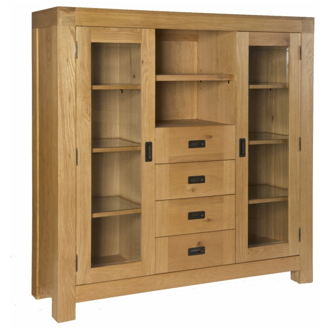 Biscay solid oak dining room furniture large display for Dining room display cabinets