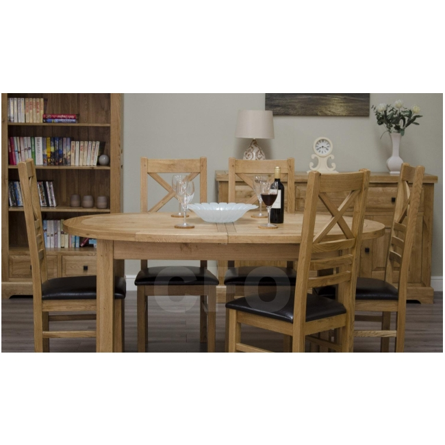 claridge solid oak furniture oval extending dining table