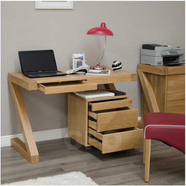 Zouk Solid Oak Designer Furniture Small Office Pc Computer