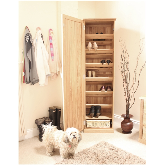 Mobel Solid Oak Furniture Shoe Storage Hallway Bench: Mobel Solid Oak Tall Shoe Cupboard Hallway Hall Storage