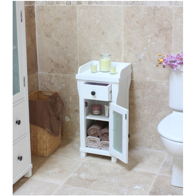 Hampton Small Glazed Bathroom Cabinet Lamp Table Solid