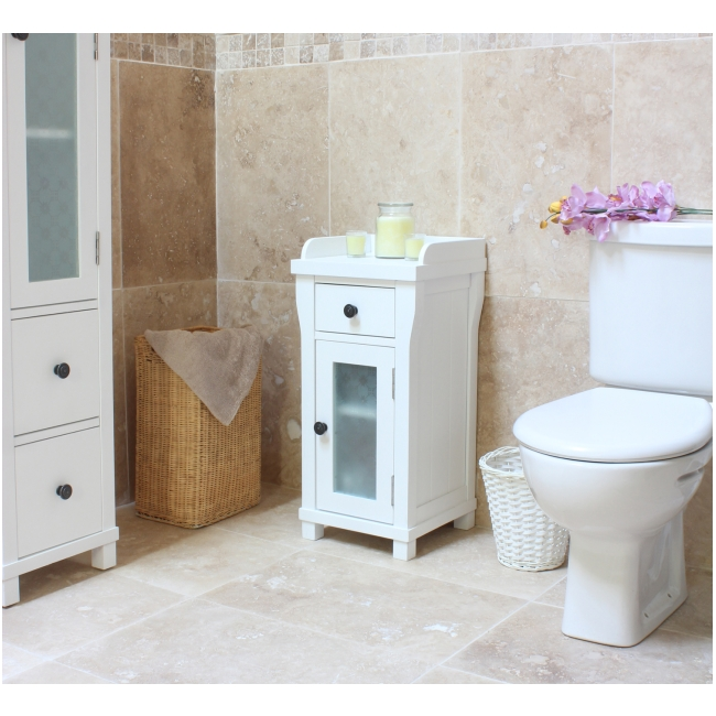 hampton small glazed bathroom cabinet lamp table solid white painted