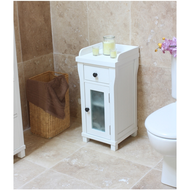 Amazing White Bathroom Cabinet Console Table 2 Drawer Bath Storage Unit Floor